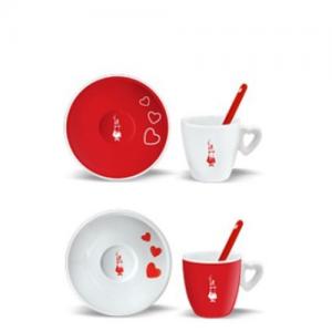 Bialetti Cuore kopjes rood en wit set 2 stuks