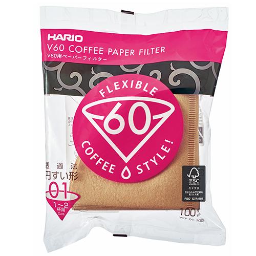 Hario V60 Koffiefilters 01 Bruin
