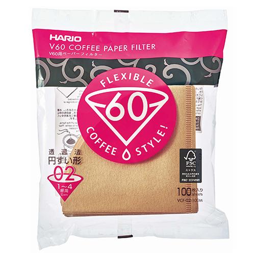 Hario V60 Koffiefilters 02 Bruin 100 stuks