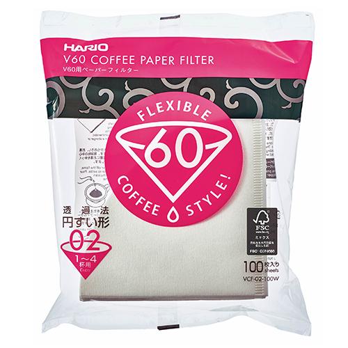 Hario V60 Koffiefilters 02 Wit 100 stuks