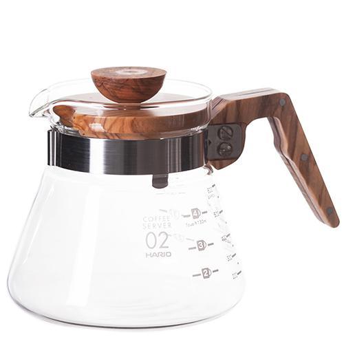 Hario V60 Coffee Server Glas met Olijfhout 600ml